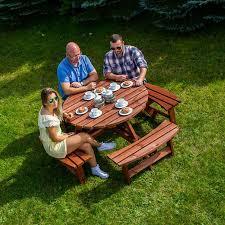 york round 8 seat picnic table