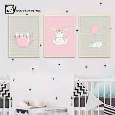 cute pink rabbit bunny wall art canvas posters cartoon animal nursery prints nordic painting picture baby on baby canvas wall art with cute pink rabbit bunny wall art canvas posters cartoon animal