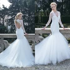 2016 newest fit and flare wedding dresses sexy open back illusion