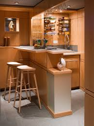 modern wine bar decorating with compact bar table also hanging bottle  storage and cafe stools basement ...