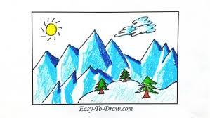how to draw snow mountain
