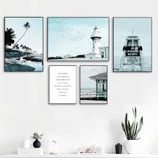 Beach Seagull Coconut Tree Tower Quotes Wall Art Canvas Painting Nordic Posters And Prints Wall Pictures For Living Room Decor