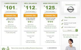 this screenshot from liberty mutual s website shows quotes under the nissan affinity program screenshot