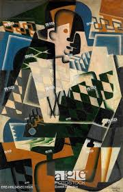 stock photo harlequin with a guitar by juan gris 1917 spanish cubist painting oil on panel gris made his avant garde art accessible to a wider