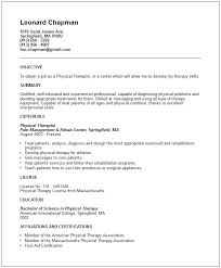Physical Therapy Internship Resume Cover Letter Samples