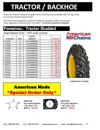Bobcat Tire Size Chart Tire Chains Catalog 2017 Ken Jones Tires Retail