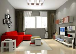 ... Cool Gray Living Room Color Ideas With White And Brown Window Curtains  Furnished Red Sofa Table ...
