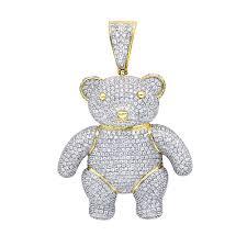 jewelry luxurman charms real 10k gold large teddy bear diamond pendant mens 325ct mainye jpg
