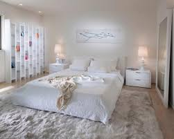 bedroom: White Double Bed On Comfortable Fur Rug And Simple Credenza For  Unusual Nightstands With