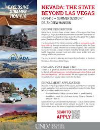 Exclusive Summer HON 410 with Dean Hanson   Honors College   University of  Nevada, Las Vegas