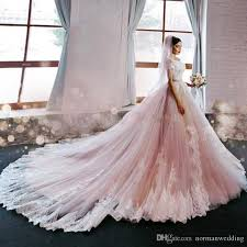 discount luxury blush pink wedding dresses 2017 off the shoulder