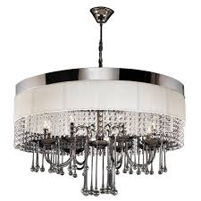 plc lighting 8 light black chrome chandelier with off white linen shade