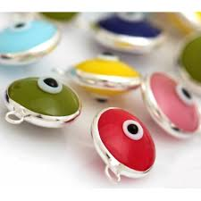 Silver <b>Evil Eye</b> Beads <b>Mixed</b> Color One Hook - 50 pcs gives ...