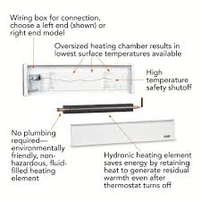 cadet softheat 83 in 1 500 watt 240 volt hydronic electric 1 500 watt 240 volt hydronic electric baseboard heater left hand wire white ebhn1500w the home depot