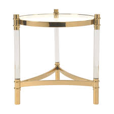 Acrylic Glass Coffee Table Acrylic End Table Glass Top Transparent Gold