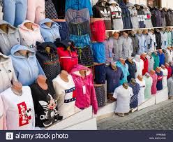 Fake Designer Clothes Counterfeit Or Fake Designer Clothing For Sale Outside Shop