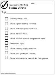 Success Criteria For Writing A Persuasive Argument Persuasive