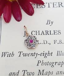 petite ruby diamond rose gold flower pendant necklace