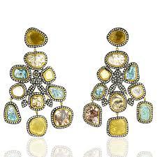 image is loading 18k solid yellow gold chandelier earrings slice diamond