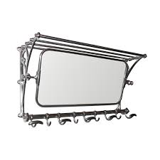 Coat Hook Rack With Mirror Vintage mirror with luggage rack in pewter Andy Thornton 75