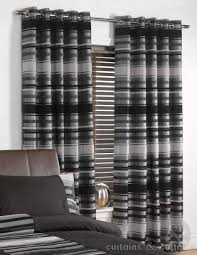 Striped Bedroom Curtains Chenille Striped Black Silver Ring Top Curtain Curtains