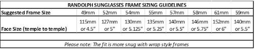 Size Content For Non Shoe Eyewear Randolph Sunglasses 2016