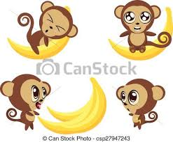 Monkey with <b>banana</b>. Set of <b>cartoon funny</b> monkeys with big <b>banana</b> ...