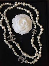 chanel pearl necklace. nib authentic classic chanel pearl necklace with 3 crystal cc logos 42 o
