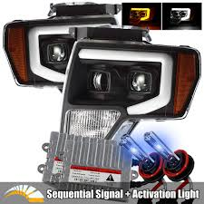 2006 Ford F150 Fog Light Bulb Size Alpharex 10000k Xenon Black For 09 14 Ford F150 Led Tube Dual Projector Headlights With Switchback Drl Sequential Signal Activation Light