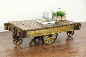 Industrial Factory Cart Coffee Table Sold Industrial 1910 Antique Salvage 4 Wheel Factory Cart Or