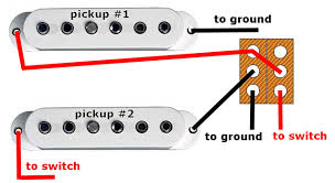mods for guitars the switch is a normal dpdt aka 2pdt in the down position both pickups are connected together in standard parallel wiring for maximum chime and twang