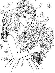 Adult Coloring Pages Girl And Flower Coloringstar