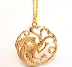 gold plated game of thrones house daenerys targaryen khaleesi sigil dragon pendant necklace