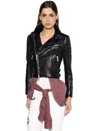 dsquared2 leather jacket w knotted plaid shirt black otyx0 women clothing dsquared underwear