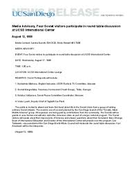 media advisory four soviet visitors partite in round table discussion at ucsd international center