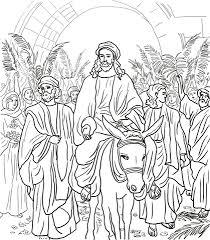 Jezus Komt Jeruzalem Binnen Kleurplaat Gratis Kleurplaten Printen