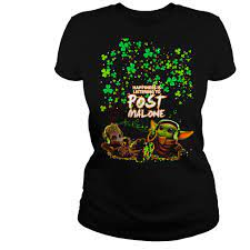 Star Wars Baby Yoda and baby Groot Happiness is listening to Post Malone  St. Patrick's Day shirt – Nemo Premium Fashion Store
