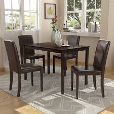 Wooden Dining Room Table Designs Harper Bright Designs Dining Table Set Kitchen Dining Table Set Wooden Table And 4 Pu Leather Chairs For 4 Person Cherry