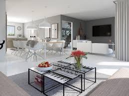 Offenes Wohn Esszimmer Wandgestaltung Farbe Grau Ideen