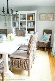 costal furniture coastal farmhouse dining room makeover chair wheat rope indoor outdoor rug white pine planked