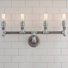 industrial vanity light surprising industrial pipe vanity light 4 light shades of light