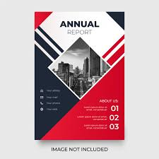 Report With Pictures Modern Annual Report With Red Shapes Vector Free Download