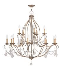 livex 6429 73 chesterfield 15 light 38 inch antique silver leaf chandelier ceiling light