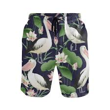 Pelican Size Chart Mens Swim Trunks Quick Dry Pelican Printed Holiday Beach
