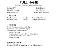 sample acting resume for beginners musical theatre resume template daily actor  beginner acting resume sample acting