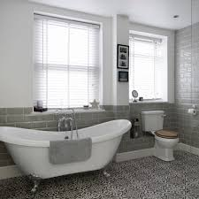 bathroom floor tiles images. Bathroom With Roll Top Bath And Patterned Floor Tiles Splendi Images