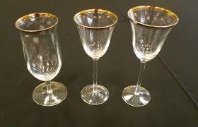 gold rimmed wine glasses plastic