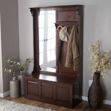 Hall Tree Coat Rack Storage Bench Entryway Hall Tree Coat Rack Storage Bench Vertical Mirror Wood 14