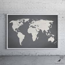 gray world map poster large print modern home for wall