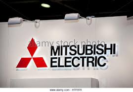 mitsubishi electric elevator logo. moscow, russia - february, 2016: mitsubishi electric company logo on the wall. elevator